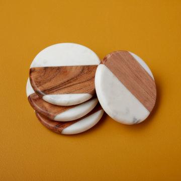White Marble & Wood Round Coasters, Set of 4