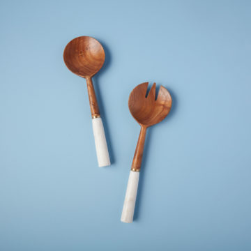 White Marble & Wood with Gold Band Serving Set