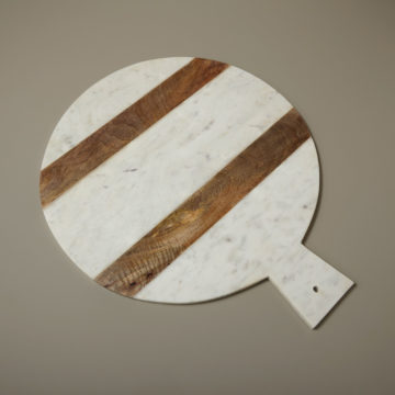 White Marble & Wood Stripe Round Board with Handle, Extra Large