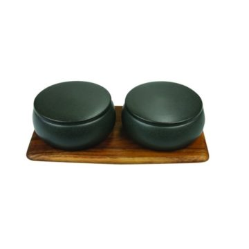 Stoneware Container Set of 2 with Acacia Tray, Black