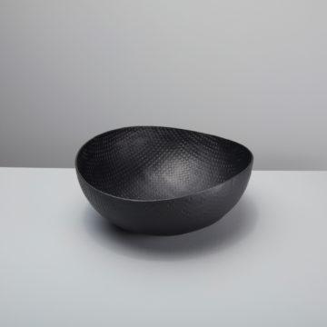 Black Crosshatch Aluminum Bowl, Large