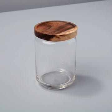 Glass & Acacia Canister, Medium