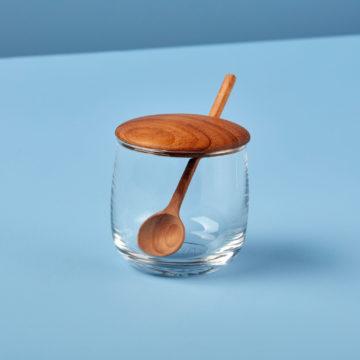 Glass Jar with Teak Lid & Spoon