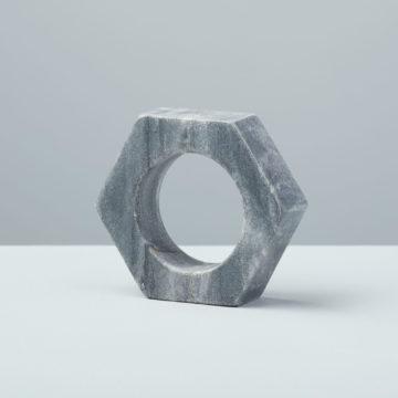 Gray Marble Hexagon Napkin Ring
