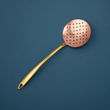 Hammered Copper & Gold Strainer