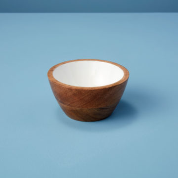 Mango Wood & White Enamel Bowl, Small