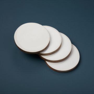 Mango Wood & White Enamel Round Coasters, Set of 4