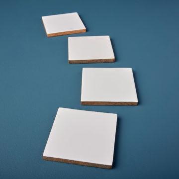 Mango Wood & White Enamel Square Coasters, Set of 4