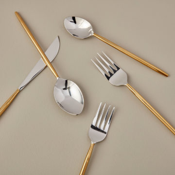 Stainless & Gold Flatware