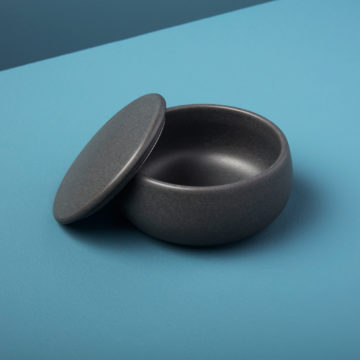Stoneware Canister with Lid Black
