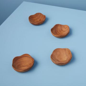 Teak Wavy Bowls Set of 4