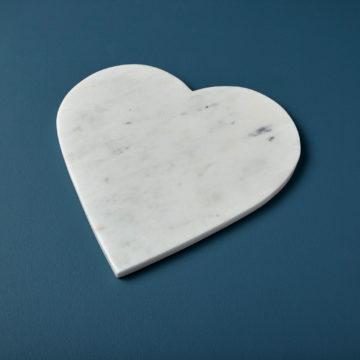 White Marble Heart Board