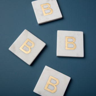 White Marble & Gold Monogram Coasters Set of 4 – Letter A