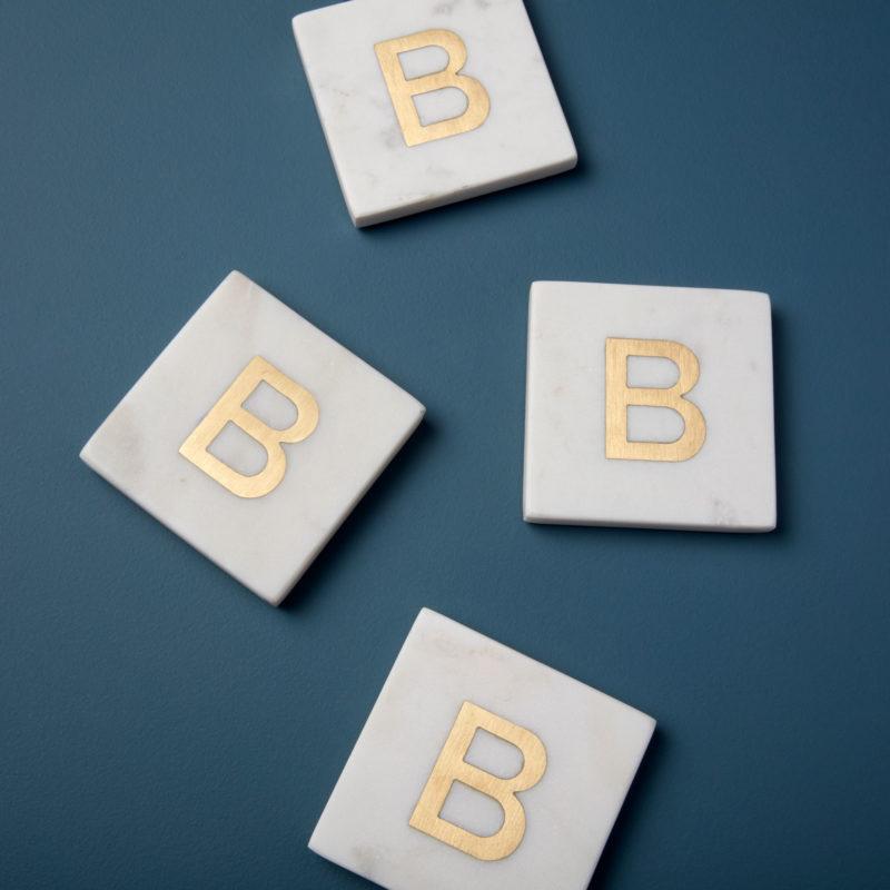 White Marble & Gold Monogram Coasters Set of 4 – Letter B