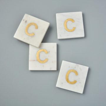 White Marble & Gold Monogram Coasters Set of 4 – Letter C