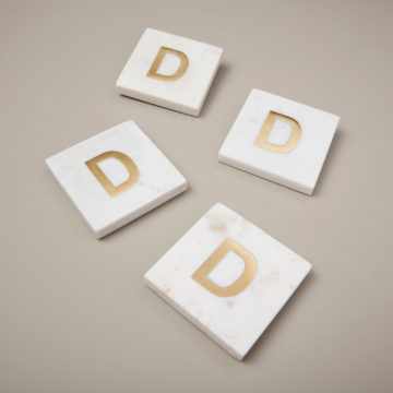 White Marble & Gold Monogram Coasters Set of 4 – Letter D