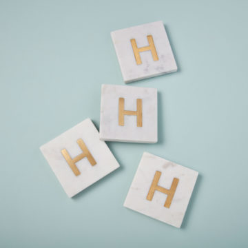 White Marble & Gold Monogram Coasters Set of 4 – Letter H