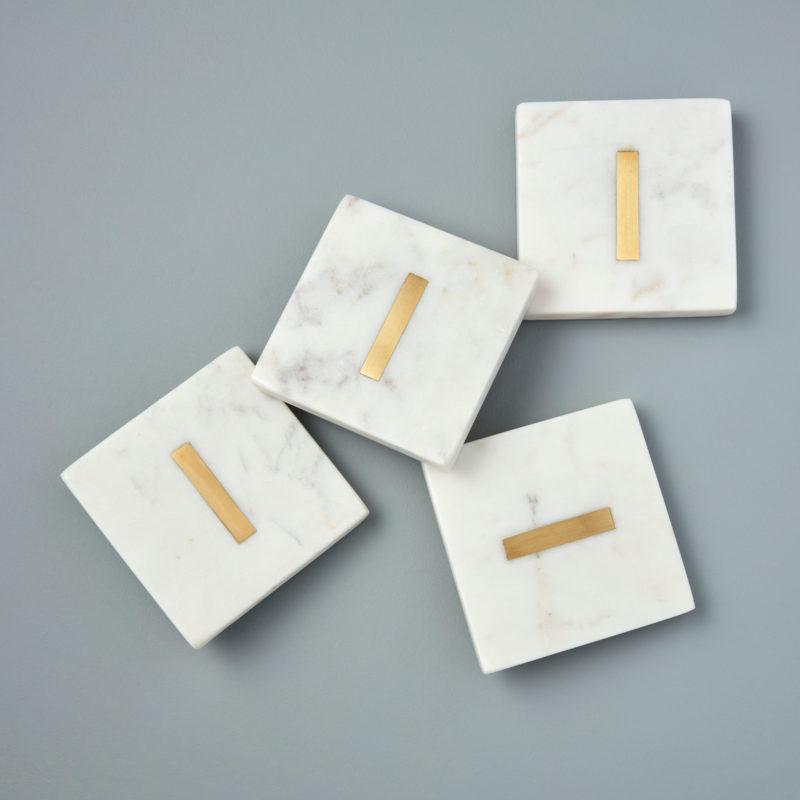White Marble & Gold Monogram Coasters Set of 4 – Letter I