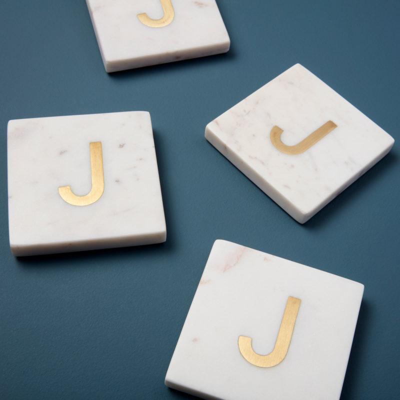 White Marble & Gold Monogram Coasters Set of 4 – Letter J