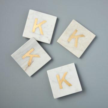 White Marble & Gold Monogram Coasters Set of 4 – Letter K
