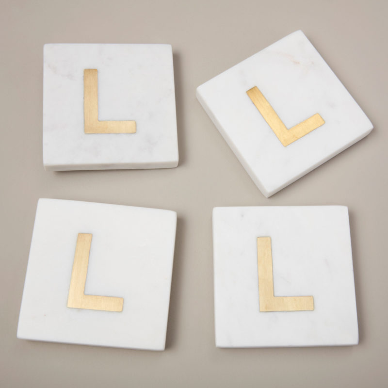 White Marble & Gold Monogram Coasters Set of 4  – Letter L