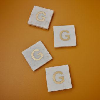 White Marble & Gold Monogram Coasters Set of 4 – Letter E