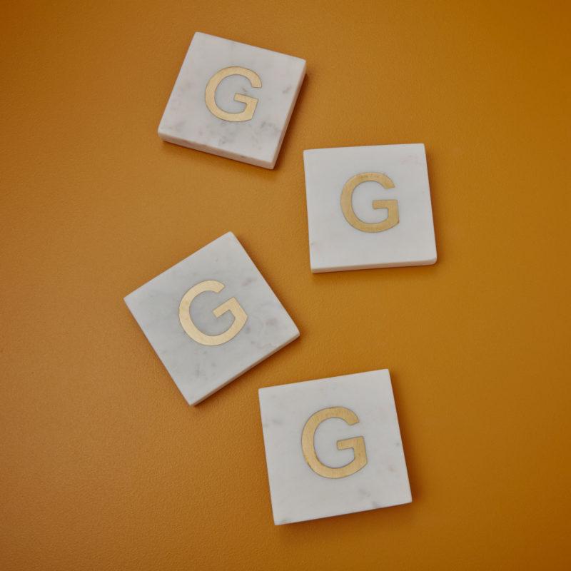 White Marble & Gold Monogram Coasters Set of 4 – Letter G