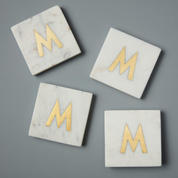 White Marble & Gold Monogram Coasters Set of 4  – Letter M