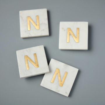 White Marble & Gold Monogram Coasters Set of 4 – Letter N