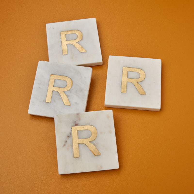 White Marble & Gold Monogram Coasters Set of 4 – Letter R