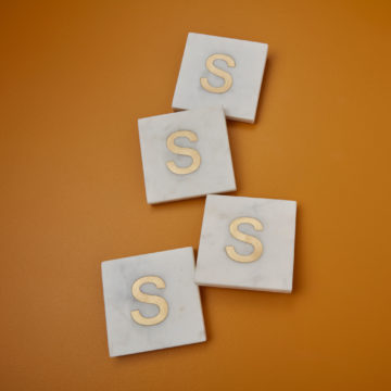 White Marble & Gold Monogram Coasters Set of 4 – Letter S