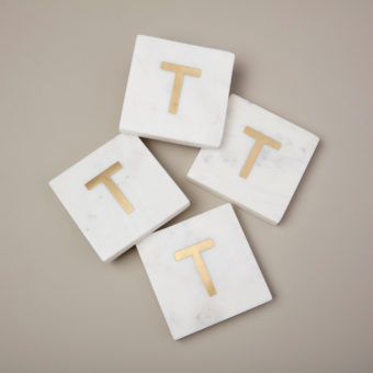 White Marble & Gold Monogram Coasters Set of 4 – Letter O