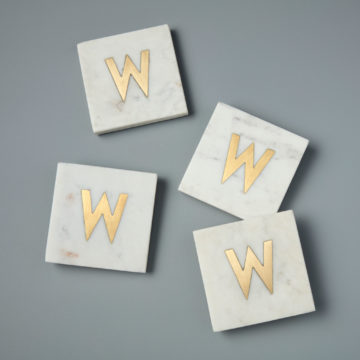 White Marble & Gold Monogram Coasters Set of 4  – Letter W