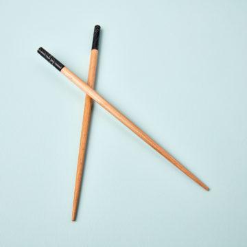 Carved Resin & Wood Chopsticks, Black