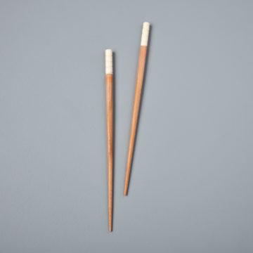 Carved Resin & Wood Chopsticks, White
