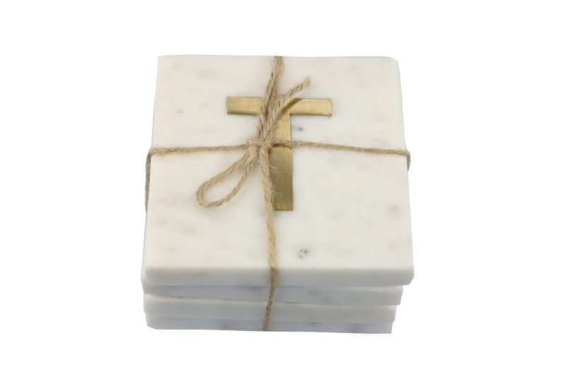 White Marble & Gold Monogram Coasters Set of 4 – Letter T