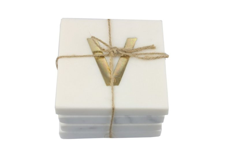 White Marble & Gold Monogram Coasters Set of 4 – Letter V