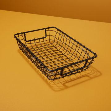 Black Rectangular Wire Basket, Small
