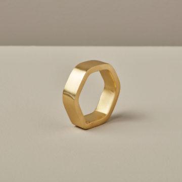 Hexagon Napkin Ring, Gold
