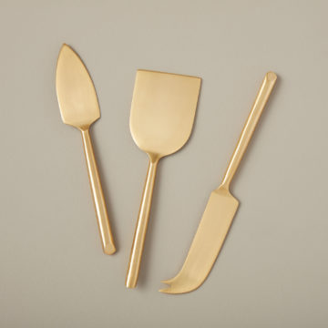 Matte Gold Cheese Set in gift box