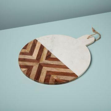 White Marble & Wood Mosaic Round Board, XL