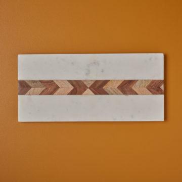 White Marble & Wood Mosaic Rectangular Board