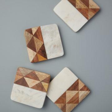 White Marble & Wood Mosaic Square Coasters, Set of 4