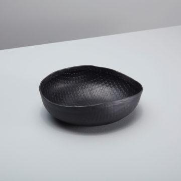 Black  Crosshatch Aluminum Bowl, Small