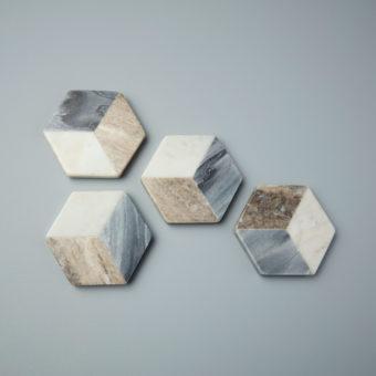 Geometric Marble Triangular Cheese Set