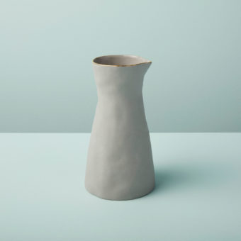 Gold Rim Stoneware Carafe, White