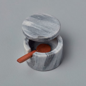 Gray Marble Lidded Cellar with Wood Spoon