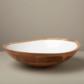 Mango Wood & White Enamel Bowl, Extra Large