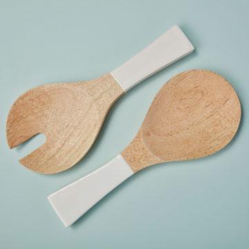 Mango Wood & White Enamel Serving Set, Short
