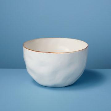 Tan Rim Stoneware Bowl, Large